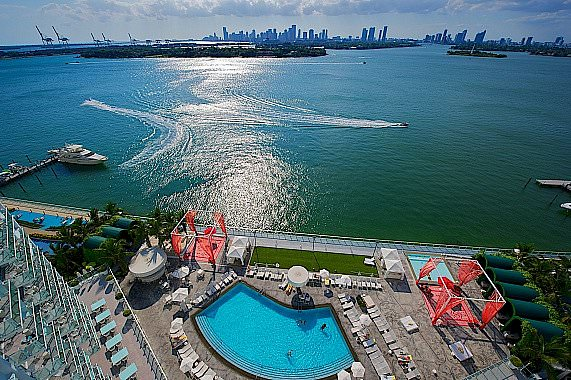 Mondrian South Beach Pool bay view