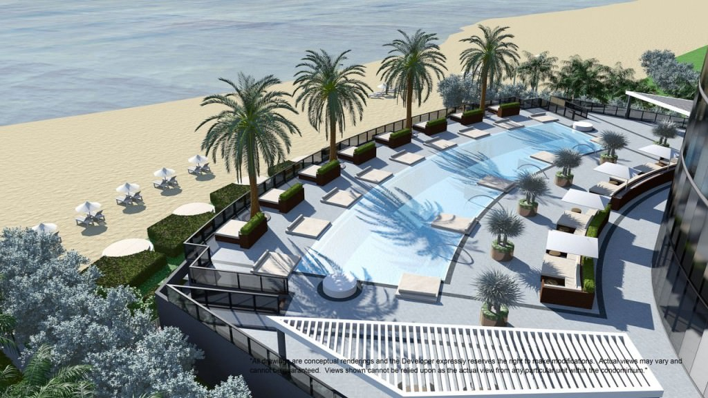 Ocean front pool featuring on site restaurant and services