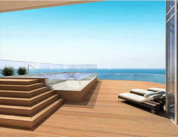 Private swimming pool and deep terrace