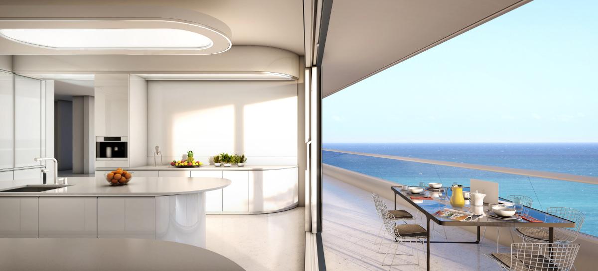 Faena house kitchen white balcony for Balcony kitchen
