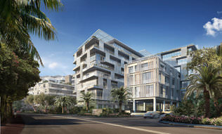 A rendering of the Ritz-Carlton Residences Miami Beach, which is in the works at the site of the former Miami Heart Institute. Courtesy of Lionheart Capital and DBOX