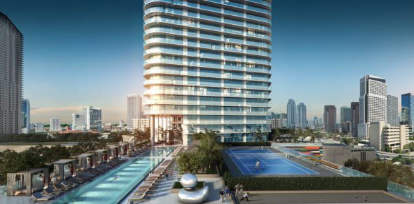 SLS Lux Building Pool Tennis