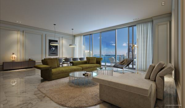 Brickell Flatiron Living Room