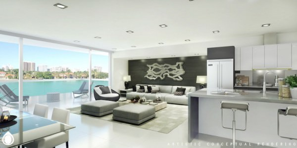 O Residences Living and Kitchen