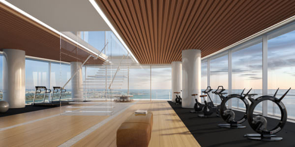 Aston Martin Residences Miami - Gym from main entrance