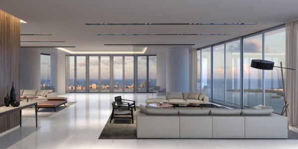 Aston Martin Residences Miami - Salon from main entrance