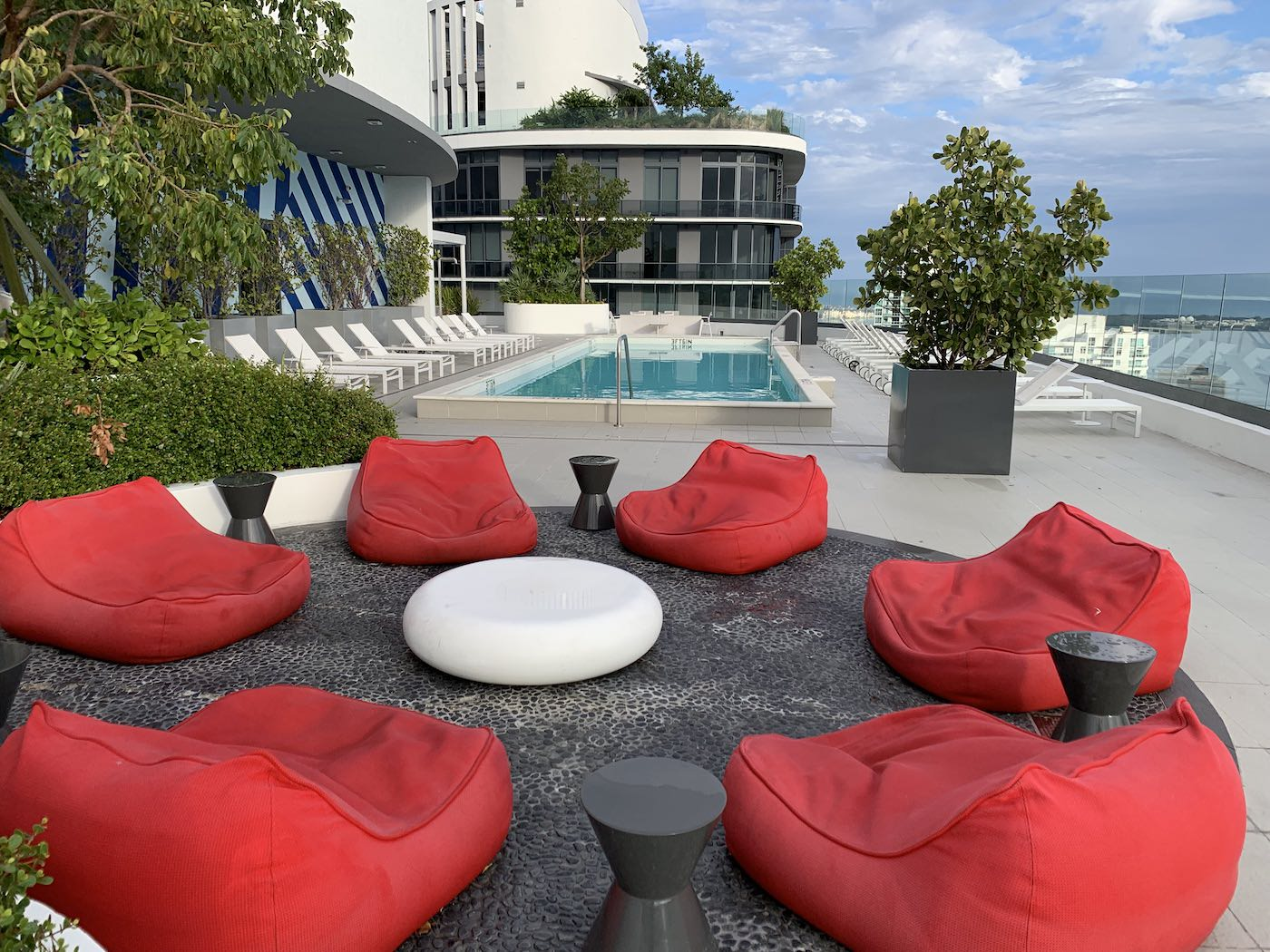 Lounge area near rooftop pool