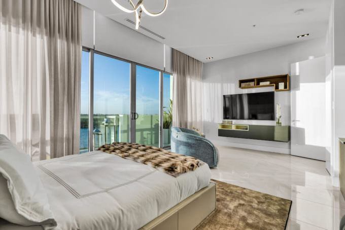 Master bedroom overlooking the water